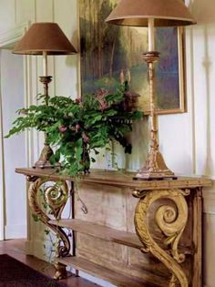 sofa table and lamps