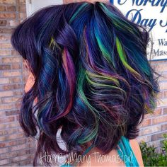 Oil Slick Hair Color for Brunettes. Really would love to do this – Hair Color Oil Slick Hair Color, Cool Hair Color, Love Hair, Gorgeous Hair, Underlights Hair, Slick Hairstyles, Bright Hair, Colorful Hair, Dyed Hair