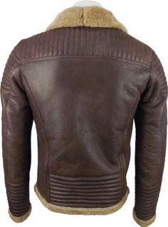 UNICORN Mens Sheepskin Jacket Brown With Ginger Fur Leather Coat #DC