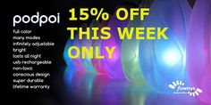 Get 15% off your favorite PodPoi THIS WEEK ONLY! $84.95 instead of $99.95. Normally only for subscribers. http://theburningpoi.com/shop/podpoi-led-poi/ #podpoi #poi #theburningpoi