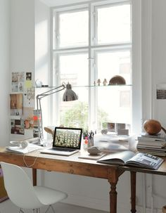 natural light from the window and old table = creative work space (emma persson lagerberg's desk via remodelista)