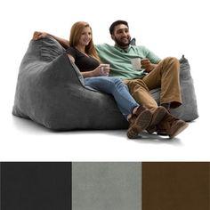 FufSack Big Joe Imperial Microsuede Polyester and Memory Foam Bean Bag Loveseat