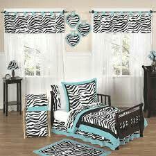 White, Blue & Zebra Print bedroom
