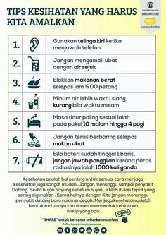 Tips Kesehatan Yang Harus Kita Amalkan Health And Beauty Tips, Health And Wellness, Health Fitness, Thing 1, Natural Health Remedies, Healthy Tips, Healthy Beauty, Healthy Options, Health Facts