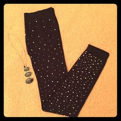 """Leggings/footless tights with gems Black semi-sheer footless tights. Dots brand, size large. Laid flat, waist measures about 13"""", stretches to 15"""". (Looks more like a medium to me.) Lots of stretch in these babies! Inseam is 27"""". Virtually no sign of wear whatsoever. NO TRADES Dots Accessories Hosiery & Socks"""