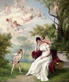 A Message From Cupid -  Hans Zatzka (1859 – 1945, Austrian)