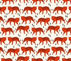 Tigers - Cream/Vermillion  fabric by andrea_lauren on Spoonflower - custom fabric