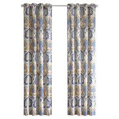 Paisley Ojal Panel de cortina en azul