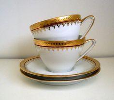 LIMOGES, Porcelaine d'Art,France.Cup and Saucers,Tea Cup, High Tea, Burgundy Red Gold Rim 1960s