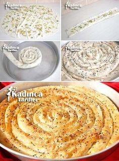 Yalancı Çarşaf Böreği Tarifi Pastry Recipes, Tart Recipes, Cooking Recipes, Pizza Pastry, Savory Pastry, Fun Easy Recipes, Easy Meals, Bread Shaping, Turkish Recipes