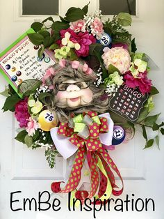 Bingo wreath, grandma wreath, aunt wreath, bingo decor, bingo door wreath, bingo door decor, unique gift
