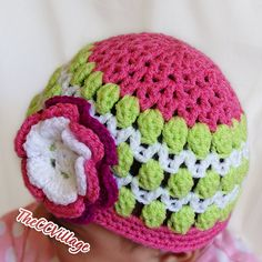 Green Pink Crochet Baby Hat Crochet Girl Hat by TheCCVillage, £10.00