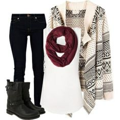 Boots, scarf, sweater- count me in