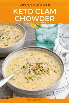 Low Carb Soup Recipes, Keto Recipes, Dinner Recipes, Cooking Recipes, Healthy Recipes, Chili Recipes, Clam Chowder Recipes, Clam Recipes, Low Carb Clam Chowder Recipe