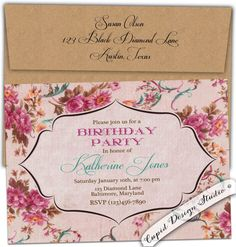 French country roses Birthday party invitation by CupidDesigns