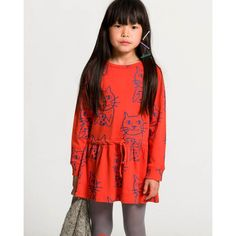 Solid red mid length dress crafted in GOTS certified organic cotton. It features an allover print of Anton, our neighbours' cute cat which always rests by the window. Perfect for cat inspired customes your child will wear not only in Halloween ; Cat Dresses, Girls Dresses, Mid Length Dresses, The Dress, Organic Cotton, Kids Fashion, Tees, How To Wear, Anton
