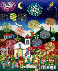 Festa Junina in Naif. Ideal para pintar uma tela com detalhes em tinta relevo