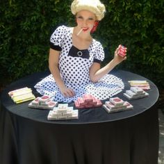 Vintage strolling table with candy cigarettes by J&D Entertainment Houston, Living Table, Texas Wedding Entertainment Company www.jdentertain.com
