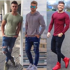 1 2 or Comment below and tag a friend! by Fashion Fashionist Design Fashions Ideas Gifts Dress Clothes Hats Comfort Men Women Girls Boys Shirts Pants Slacks Prom Pictures Photos Casual Outfits, Men Casual, Fashion Outfits, Grey Fashion, Mens Fashion, Mens Clothing Styles, Sexy Men, Menswear, Street Style