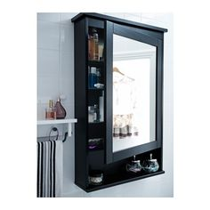 IKEA - HEMNES Mirror cabinet with 1 door black-brown stain. I like this for guest bathroom cause it has a lot of storage room. Bathroom Mirror Cabinet, Mirror Cabinets, Bathroom Cabinets, Bathroom Furniture, Bathroom Mirror With Storage, Ikea Bathroom Storage, Kitchen Storage, Mirror Shelves, Hallway Storage