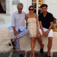THE OLIVIA PALERMO LOOKBOOK: Olivia Palermo and Johannes Huebl with Giancarlo Giammetti in Mykonos