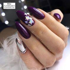 Manicure - nail art VK Source by Purple Nail Art, Blue Nails, Purple Glitter, Hair And Nails, My Nails, Nail Design Spring, Mini Terrarium, Star Nails, Nail Designs