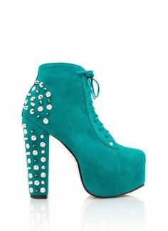 Ooooh girl, don't hurt 'em too much in these spiky, studded, lace-up booties!