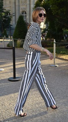 Seeing stripes: Fashionista Olivia Palermo was also in attendance in Paris on Monday