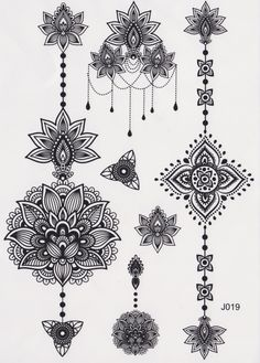 Temporary Tattoo, Mandala Tattoo, Lotus Tattoo, Feminine Tribal Aztec Black and White Maori Flower Vintage Traditional Kylie Jenner