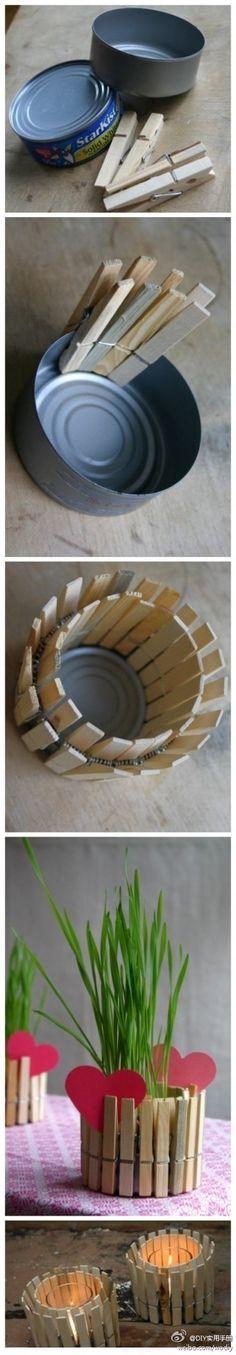 scatola di tonno e mollette __> portacandela o porta vasetto