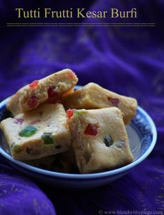 Tutti Frutti Kesar Burfi Recipe with step by step photos. Easy and colorful sweet for #Holi - blendwithspices.com