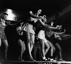 "Chorus girls at the Apollo Theater in Harlem, 1936 by Lucien Aigner, who was originally from Hungary. He emigrated to the United States to avoid Nazi persecution. Technically an ""enemy alien,"" he was prohibited from photographing war-related subjects. He noted that he ""photographed black people when it was not good manners."" He was also the brother of designer Etienne Aigner."