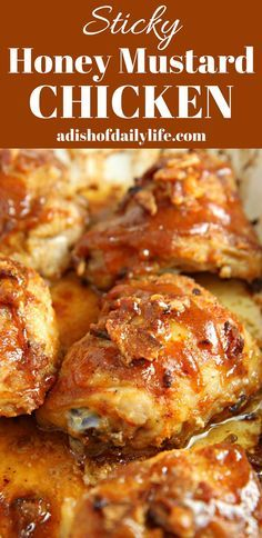 Easy Sticky Honey Mustard Chicken...chicken thighs  drizzled with a sweet and tangy honey mustard sauce, flavored with bacon and chili powder...oh so delicious! @realdominosugar #ad #DominoHoneyGranules