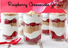 Quick and healthy dessert....Raspberry Cheesecake Jars on Weelicious