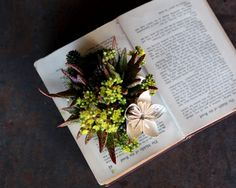 Book Planters with Vintage Book Flowers and captivating succulents from our Learn + Craft Workshop | Rolling Greens