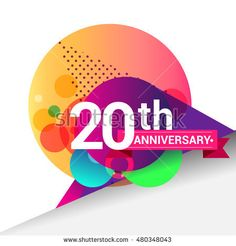20th Anniversary logo, Colorful geometric background vector design template elements for your birthday celebration.