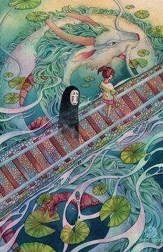 Spirited Away - Studio Ghibli / Hayao Miyazaki Art Studio Ghibli, Studio Ghibli Films, Studio Ghibli Tattoo, Studio Art, Totoro, Painting & Drawing, Watercolor Paintings, Hayao Miyazaki, Anime Kunst