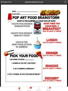 Students completed pop art food brainstorm to generate an idea for their clay food sculpture.