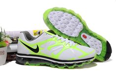 Mens Nike Air Max 2012 White Green Black Shoes USzF0