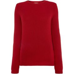 Max Mara Gettone ribbed jumper ($220) ❤ liked on Polyvore featuring tops, sweaters, blusas, shirts, red, women, collared shirt sweater, jumper shirt, red shirt and red collar shirt