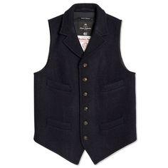 a19f5d9cf1 Nigel Cabourn Mallory Vest (Black Navy) Black Suit Vest, Mens Suit Vest,
