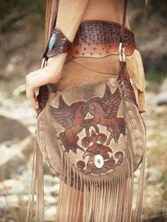 ☮ American Hippie Bohemian Style Boho ~ Leather Fringe Unicorn Bag!!