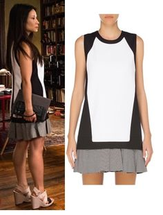 Elementary season 3, episode 3: Joan Watson's (Lucy Liu) black and white drop-waist dress by Robert Rodriguez #elementary #joanwatson #lucyliu