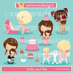 Niñas con muñecas imágenes prediseñadas por ZenwareDesigns en Etsy