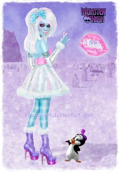 Winter Glam Abbey by kharis-art.deviantart.com on @deviantART high heels glam shiny stockings makeup monster high scene hair
