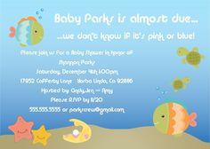 Baby Shower Invitation -- Under the Sea  -- 5x7 Digital File. $15.00, via Etsy.