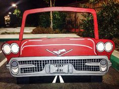 Best Photo prop ever!--Rock N diner , classic convertable car. Photo prop, standee, wood cut out Diner Party, Party Fiesta, Fifties Party, Retro Party, Photo Props, Photo Booth, 50s Sock Hop, 50s Theme Parties, Grease Party
