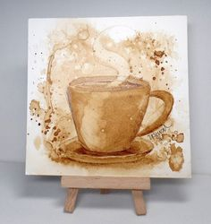 It's my turn to host the Mix-Ability challenge this week, and I pulled out a technique I've been wanting to try for some time - painting with coffee! You can work with regular or instant coffee - I c Coffee Painting Canvas, Canvas Art, Art Therapy Projects, Art Projects, Watercolor Cards, Watercolor Paintings, Watercolor Sketchbook, Watercolors, Coffee Cup Art