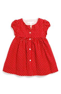 BNWT baby girls clothes cerise pink /& white spotty kinder dress Made in England