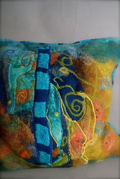 Nuno Felted Pillow a Sugarplum Original by J. Gauger...